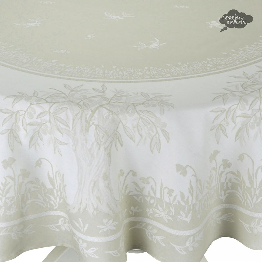 "70"" Round Marseille French Damask Tablecloth with Teflon"