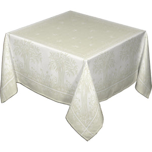"62"" Square Marseille French Jacquard Tablecloth with Teflon"