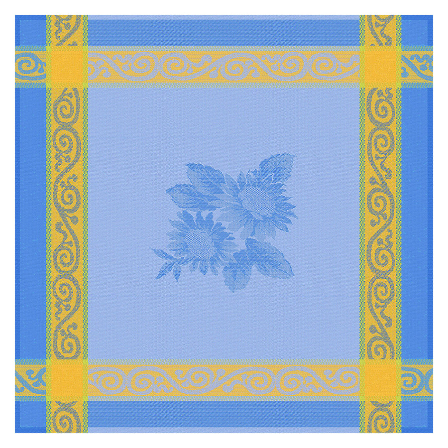 Sunflower Blue French Jacquard Cotton Napkin