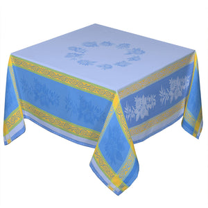 "62"" Square Sunflower Blue French Jacquard Tablecloth with Teflon"