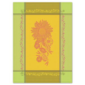 Sunflower Yellow & Green Cotton French Jacquard Dish Towel