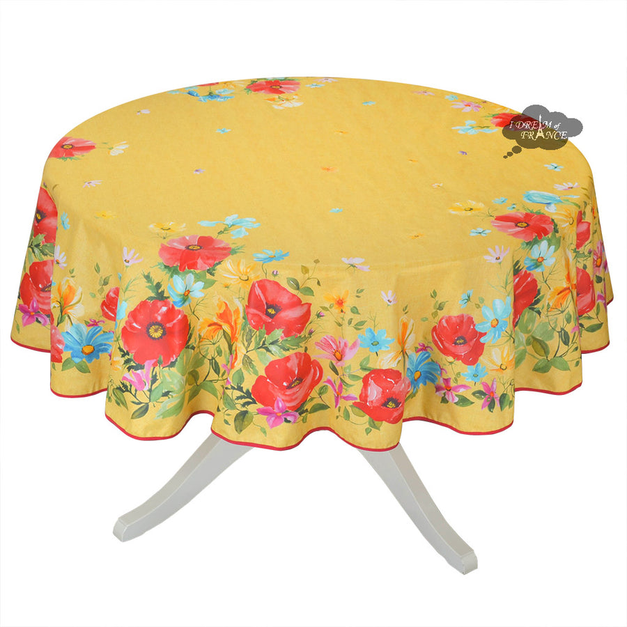 "70"" Round Poppies Yellow Acrylic Coated Cotton Tablecloth by L'ensoleillade"