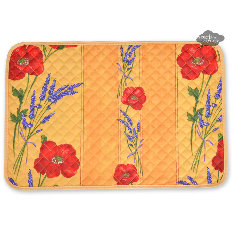 Poppies Yellow Acrylic Coated Quilted Placemats by Tissus Toselli