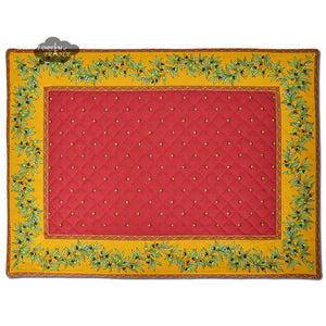 Ramatuelle Yellow & Red Quilted Placemat by Tissus Toselli