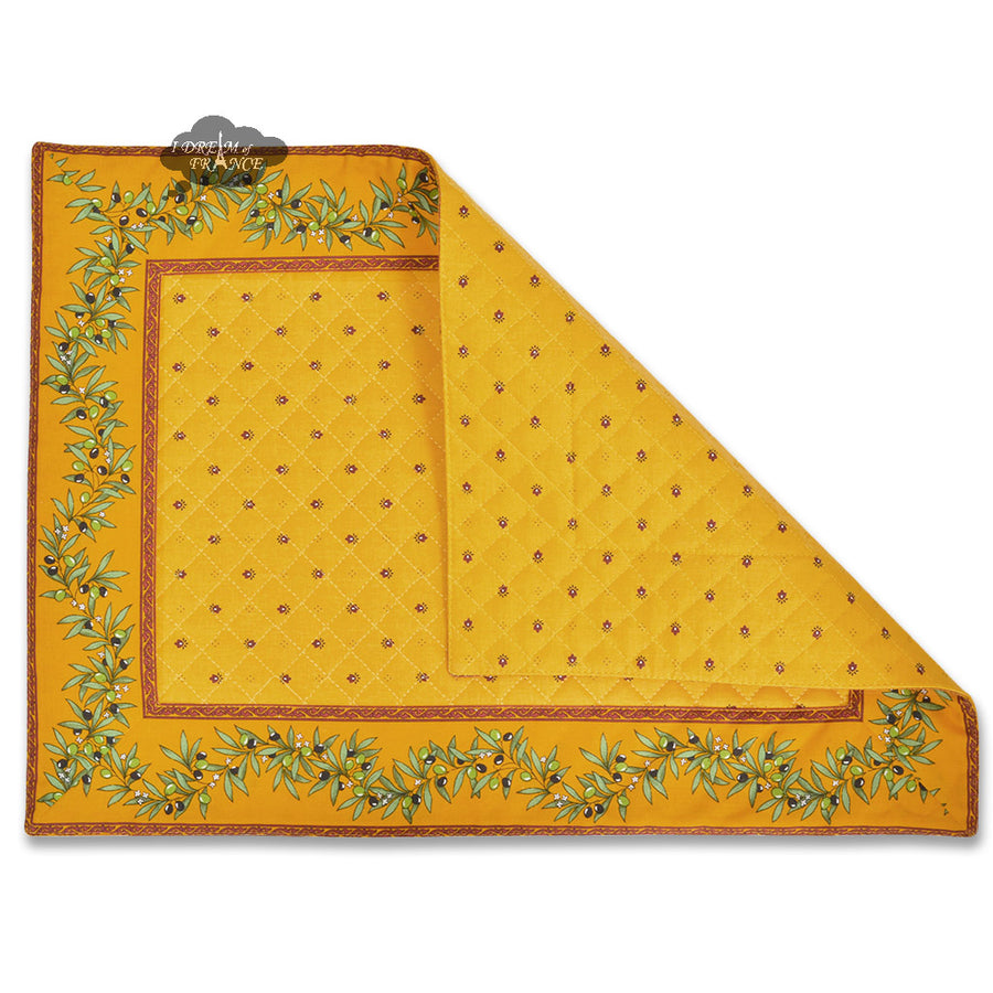 Ramatuelle Yellow & Red (Yellow Center) Quilted Placemat by Tissus Toselli
