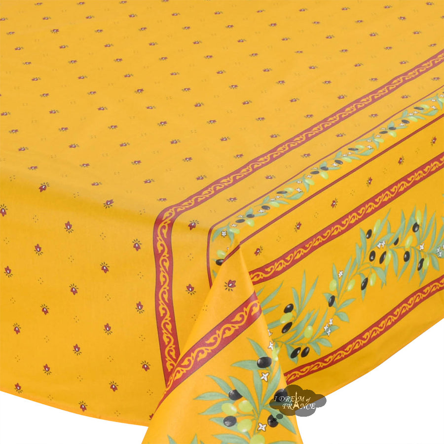 "60x96"" Rectangular Ramatuelle Yellow & Red Coated Cotton Tablecloth by Tissus Toselli"
