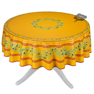 "70"" Round Ramatuelle Yellow & Red Coated Cotton Tablecloth by Tissus Toselli"