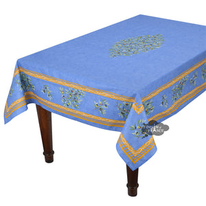 "60x 96"" Rectangular Clos des Oliviers Blue Coated Cotton Tablecloth by l'Ensoleillade"