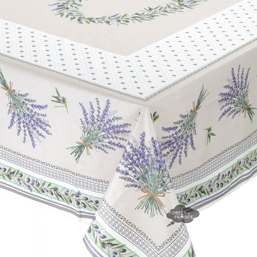 "60x96"" Rectangular Lauris Coated Cotton Tablecloth by Tissus Toselli"