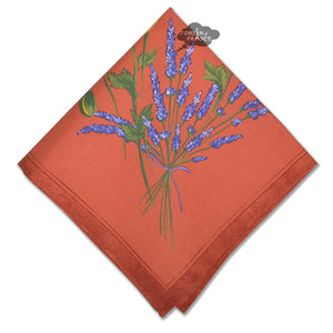 Poppies Coral Red Provence Cotton Napkin by Tissus Toselli
