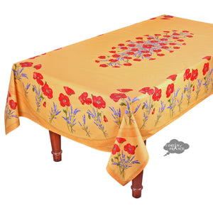 "60x 96"" Rectangular Poppies Yellow Acrylic Coated Cotton Tablecloth by Tissus Toselli"