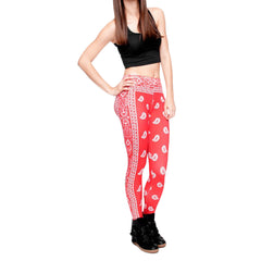 Robert Matthew Red Bandana Print Leggings
