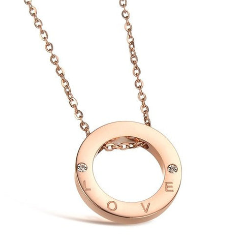 Robert Matthew 18k Rose Gold Plated Stainless Steel Eternity Love Pendant Necklace