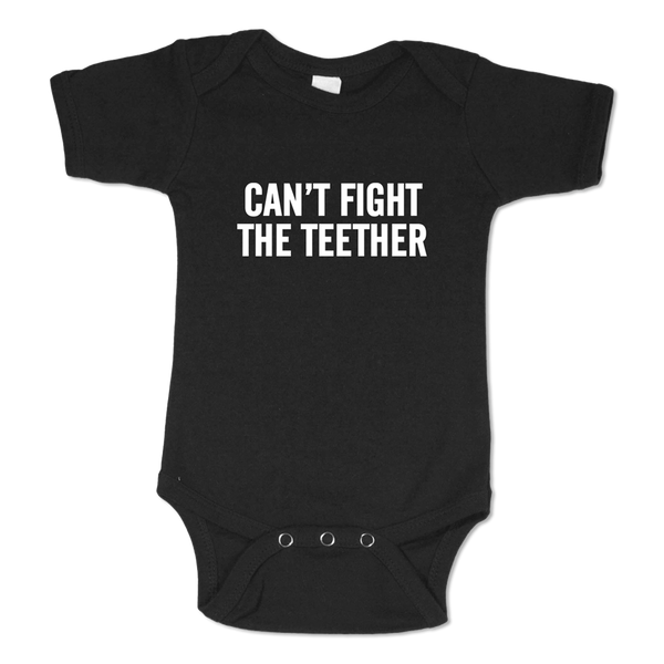 Can't Fight The Teether Black Onesie-12M