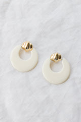 1980s Cream Doorknocker Earrings