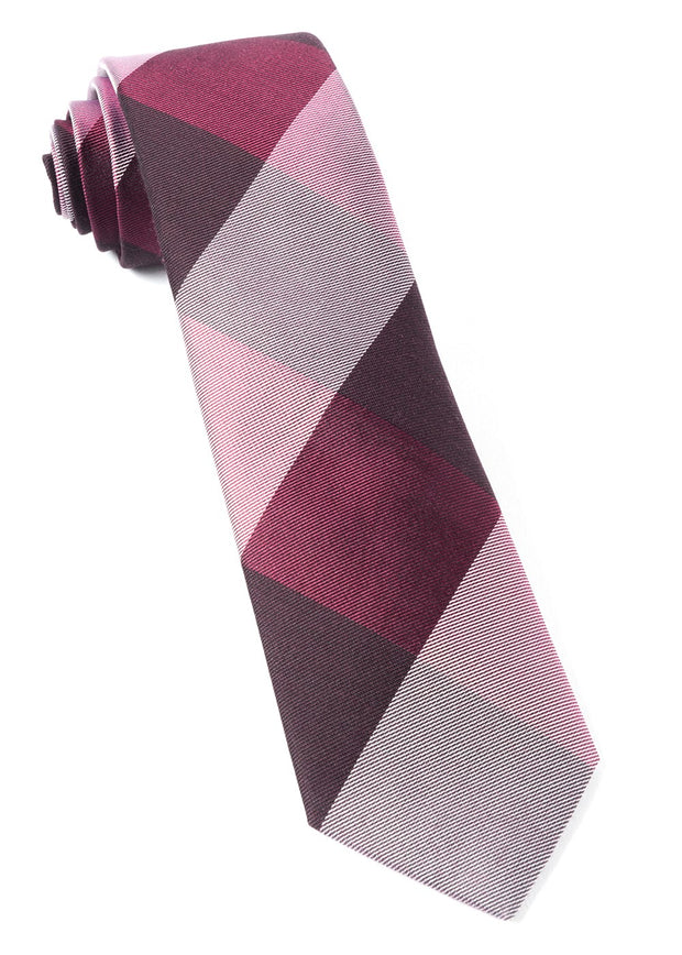 Burgundy West Bison Plaid Tie