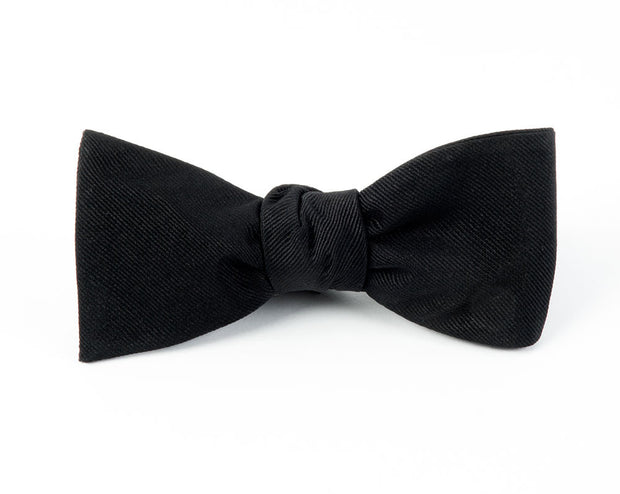 Black Grosgrain Solid Bow Tie