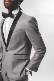 Pursuit Light Gray Slim Fit Shawl Collar Tuxedo Coat