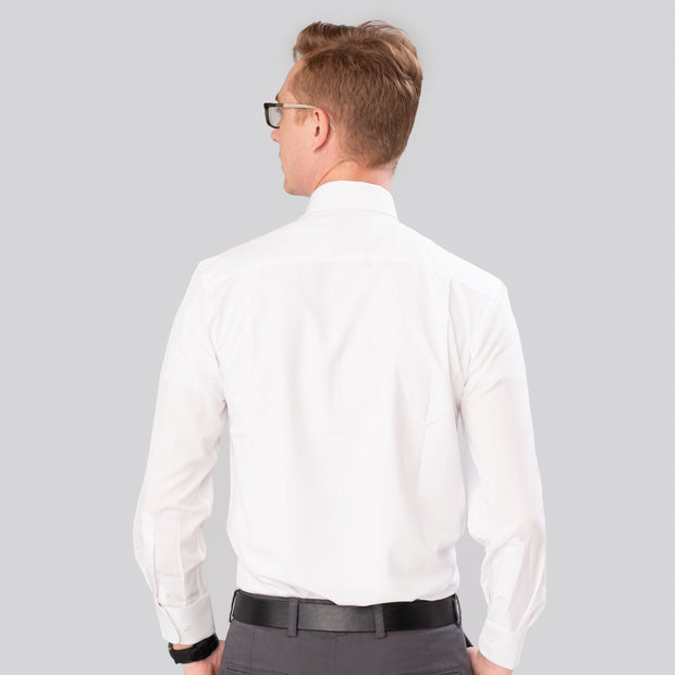 Proper Sport White Solid Performance Stretch Dress Shirt