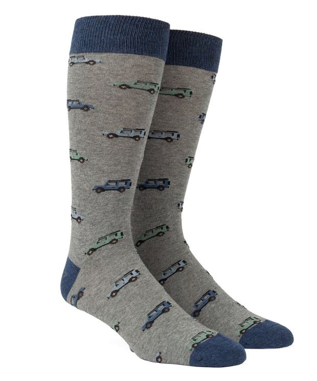 Green Vintage Cars Socks