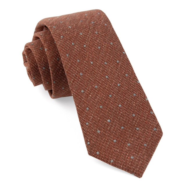 Burnt Orange Redwood Dot Tie