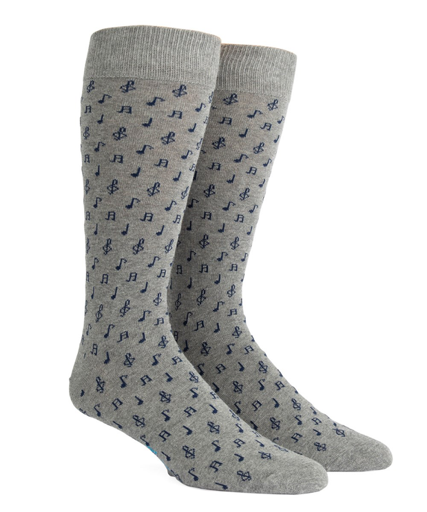 Gray Music Notes Socks