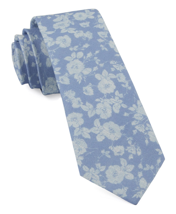 Light Blue Linen Buds Tie