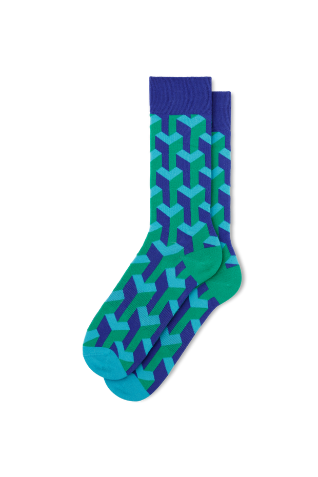 FUN Socks Navy and Green Illusionist Socks