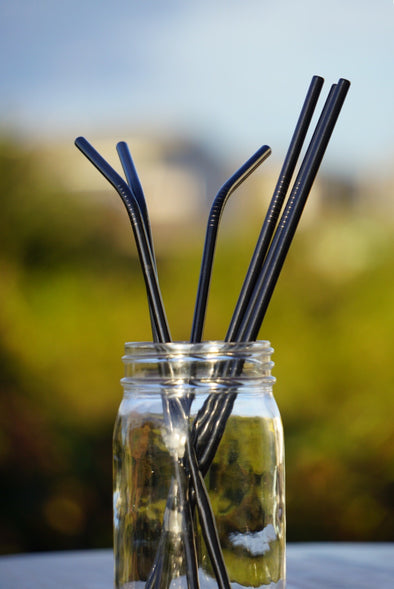 "1 Reusable 10.5"" Stainless Steel Drinking Straw- Black"