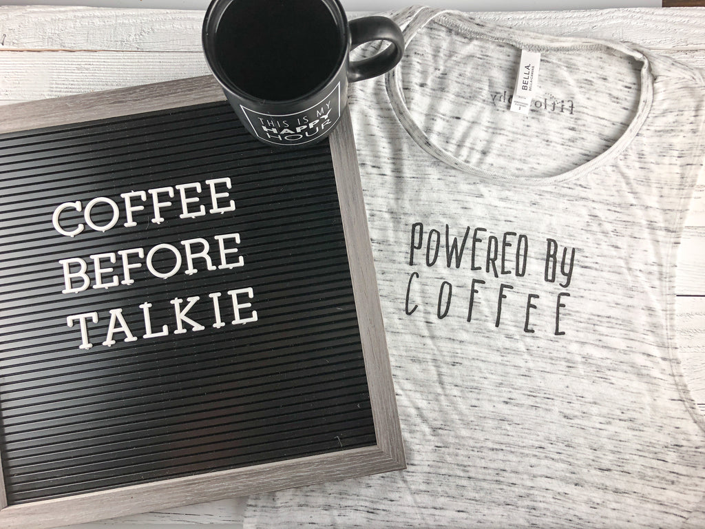powered by coffee: flowy muscle tank