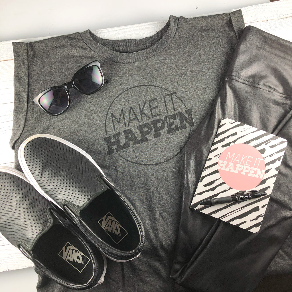 make it happen: rolled cuff muscle t-shirt