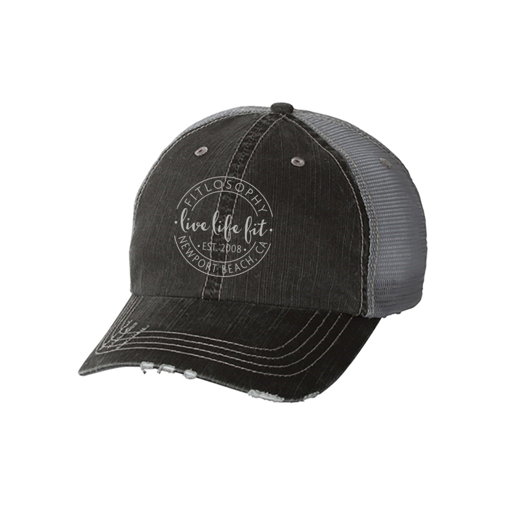 live life fit: distressed hat
