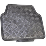 Carbon Aluminum Metal Sheen Floor Mats - Shiny Heavy Duty Vinyl Protection 4pc