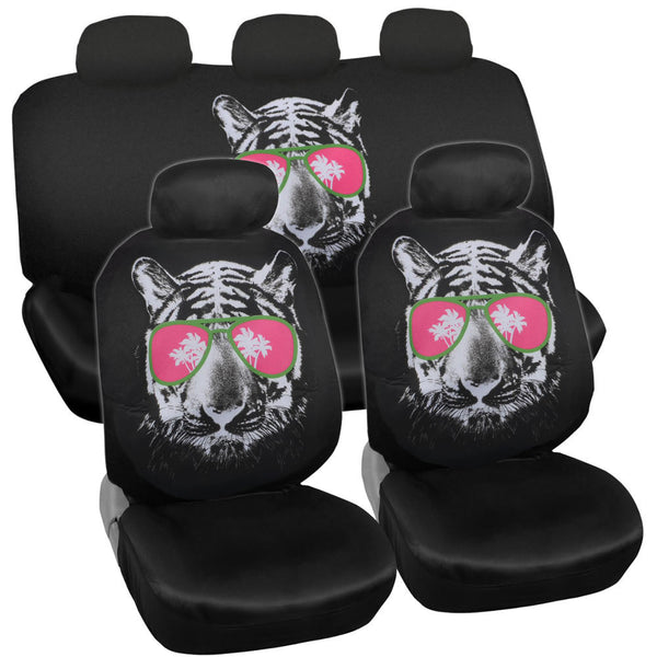 BDK 15 Piece Cool Tiger Shade New Design High Back Seat Covers and Carpet Car Auto Mats Full Set