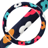 Velvet Grip Steering Wheel Cover - Colorful Flowers on Dark Blue Smooth Velour