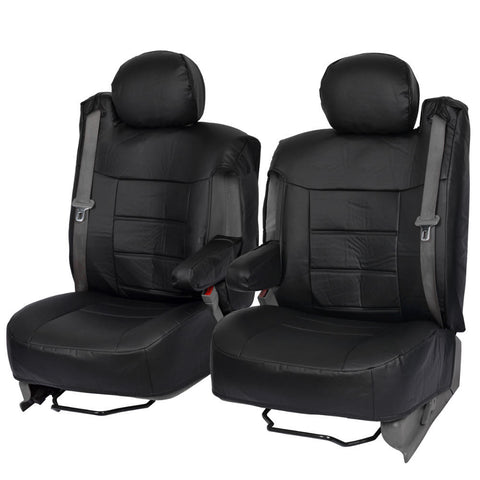 Custom Leatherette Fitted Seat Covers - Built for Integrated Seat Belts - Front Pair w/ Armrest (3 Color)