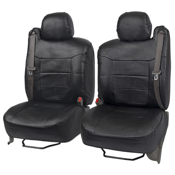 Fitted Leatherette Seat Covers - Built for Integrated Seat Belts - Front Pair (3 Color)
