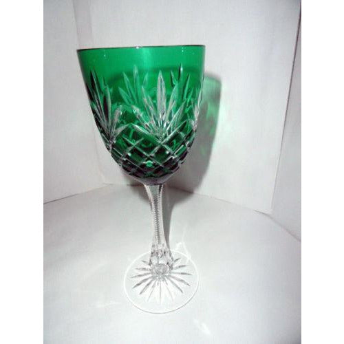 Faberge Odessa Emerald Hock Crystal Wine Glass