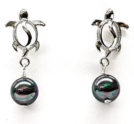 Black Mother of Pearl Honu Charm Earrings