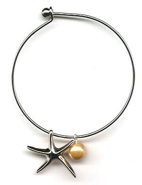 Golden Mother of Pearl and Starfish Charm Bangle Bracelet