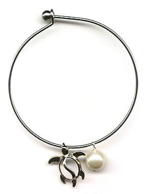 White Mother of Pearl and Honu Charm Bangle Bracelet
