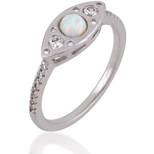 Evil eye sterling silver opal ring - GALLERIA ARMADORO