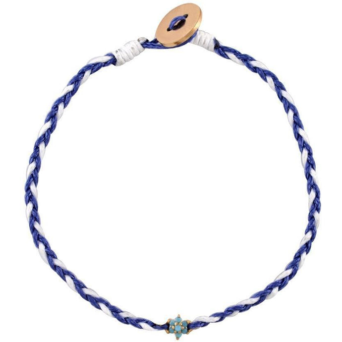 Flower turquoise gold plated braided bracelet - GALLERIA ARMADORO