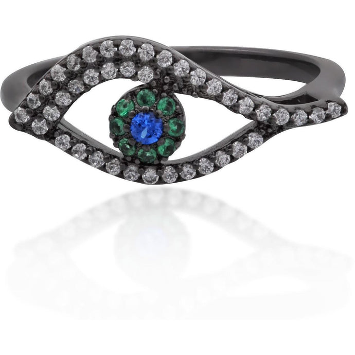 Wavy evil eye black gold vermeil ring - GALLERIA ARMADORO