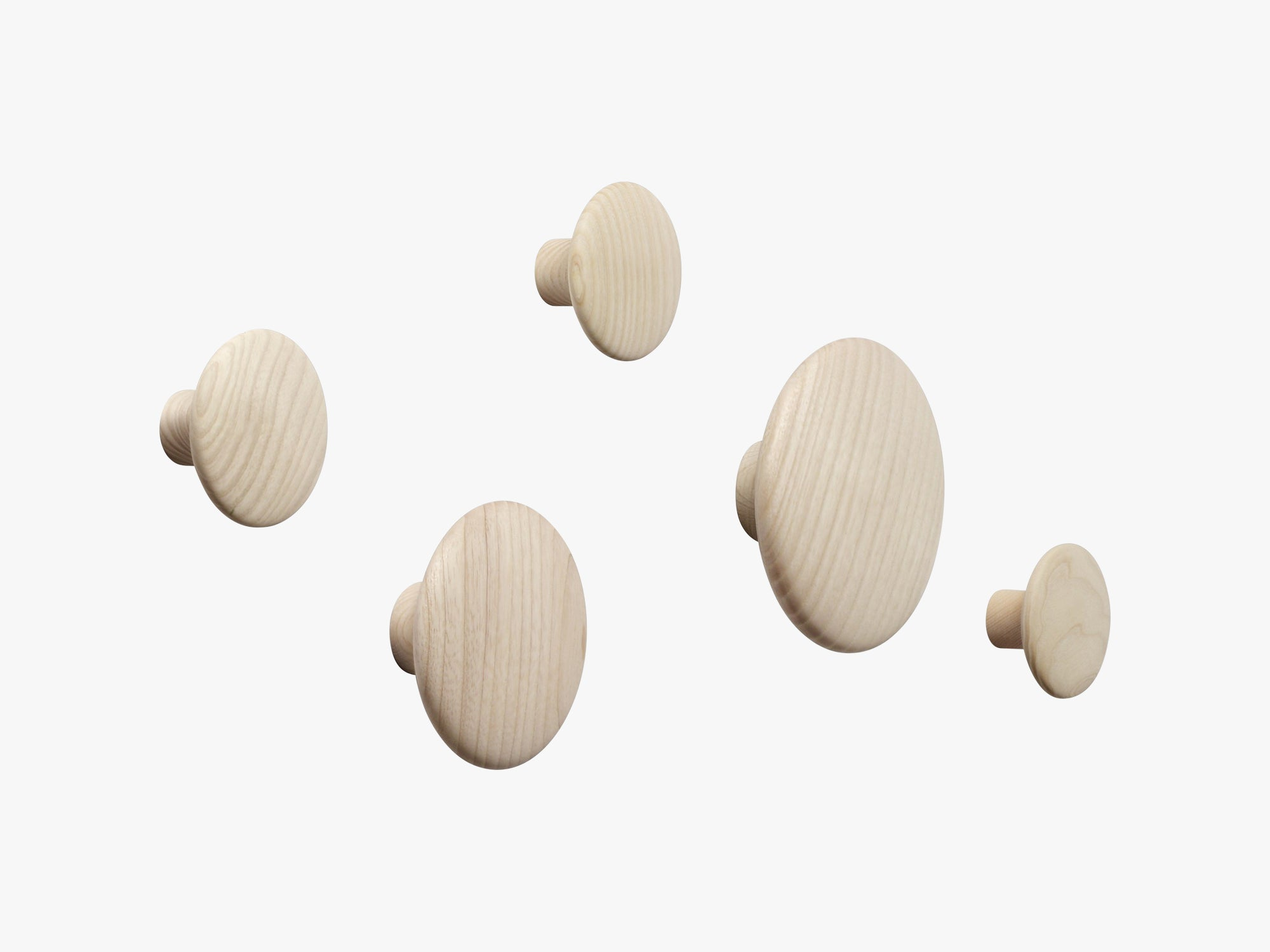 The Dots Coat Hooks / Set Of 5, Oak fra Muuto