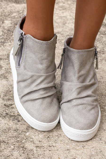 Arabelle Light Gray Wedge Sneakers