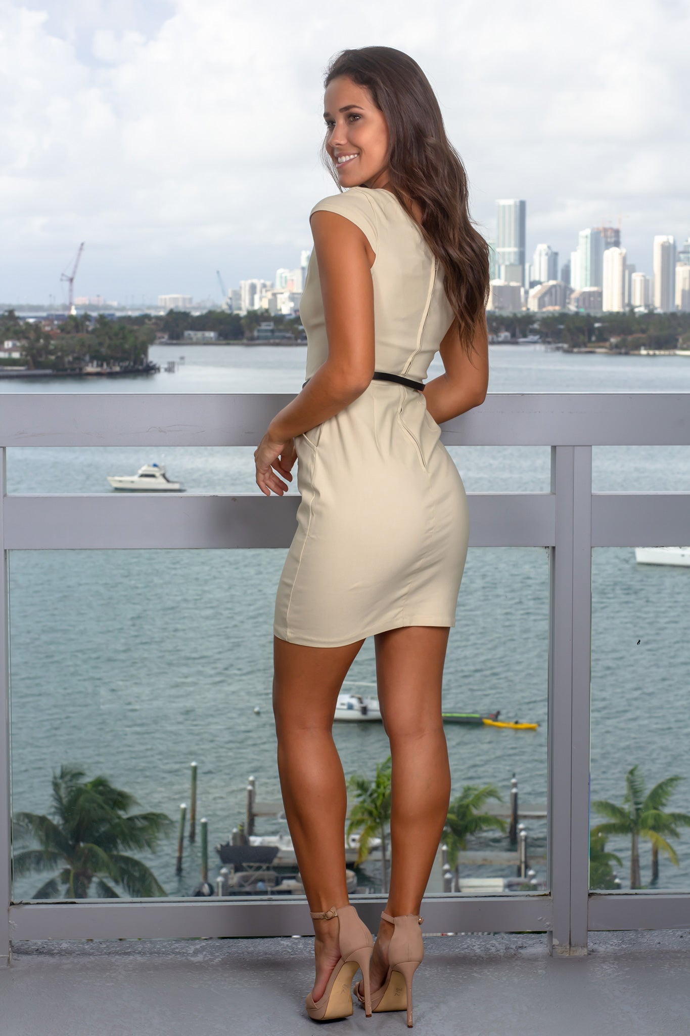 Beige Short Dress with Belt