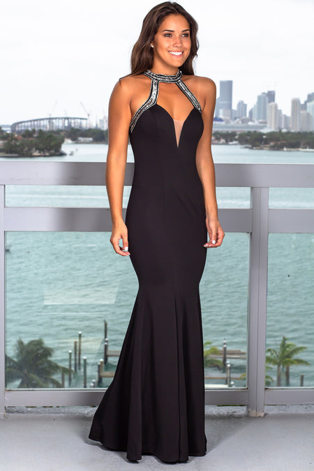 Black Halter Neck Maxi Dress with Mesh Detail