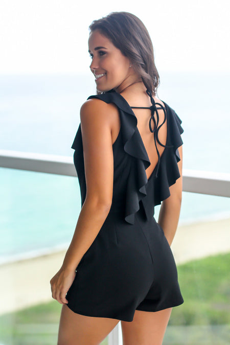 Black Romper with Ruffled Back