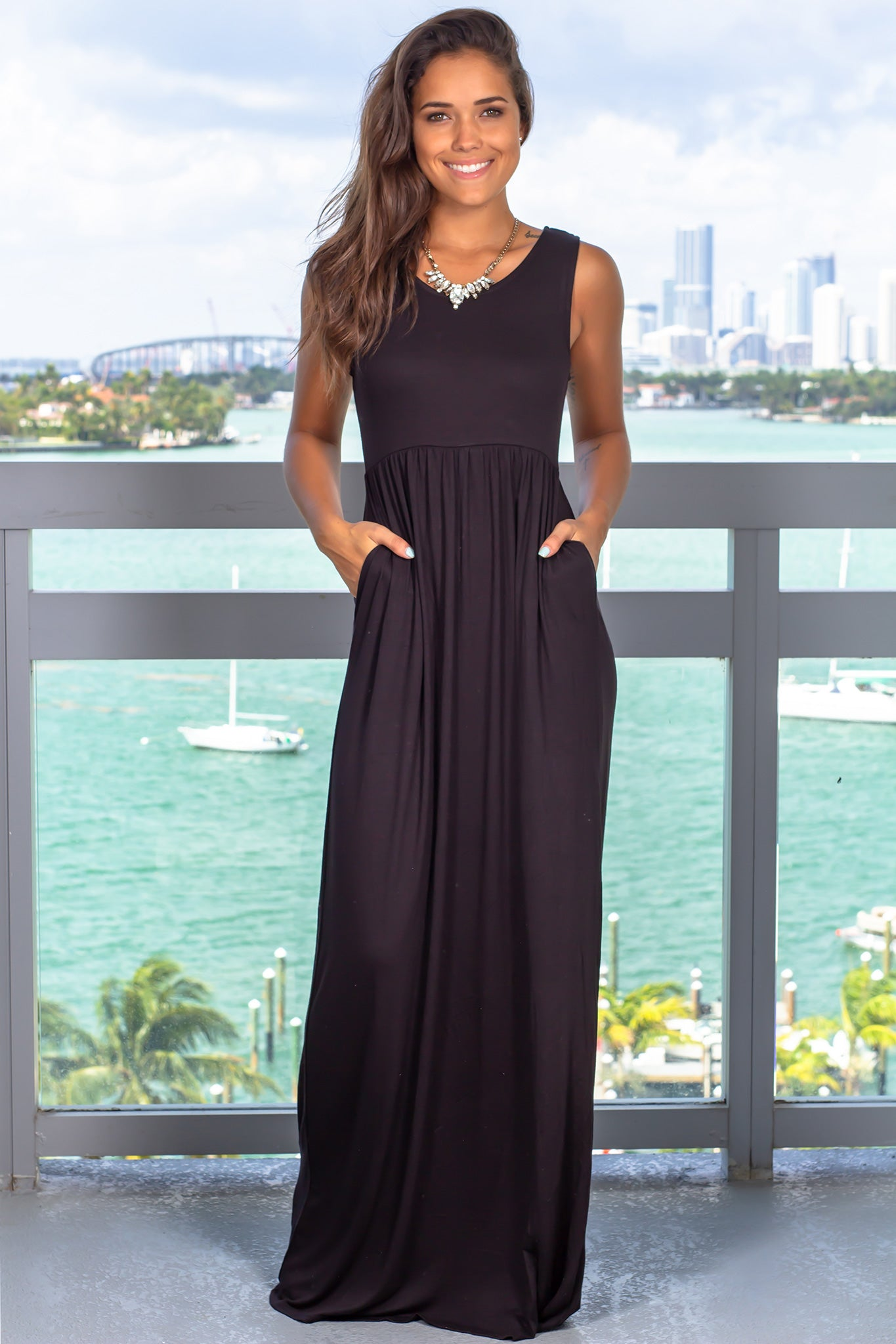 Black Sleeveless Maxi Dress with Pockets